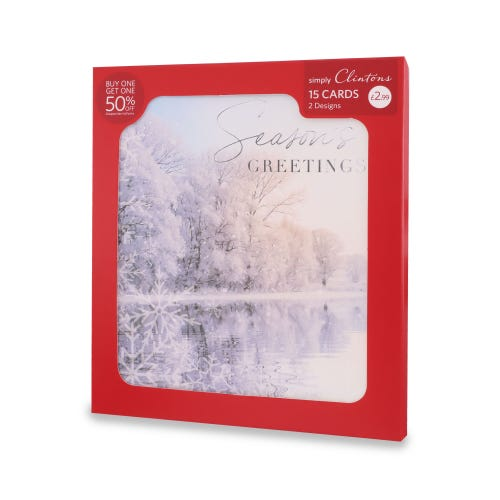 Simply Clintons Photo Scenic Christmas Cards , Pack of 15, 2 Designs