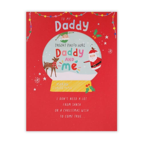 Add Own Picture Snow globe Daddy Christmas Card
