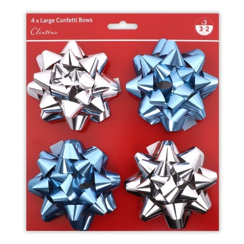 CHRISTMAS CONFETTI BOWS ICE & SILVER 4 PACK