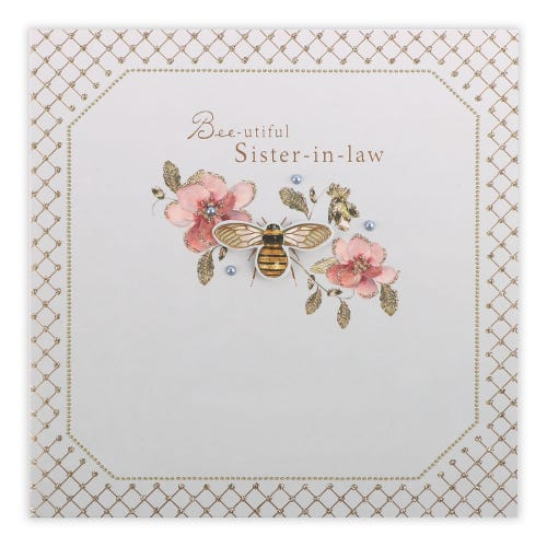 Flowers and Bee Sister In Law Birthday Card
