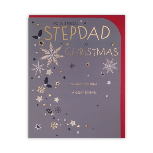 Modern Lettering & Snowflakes Stepdad Christmas Card