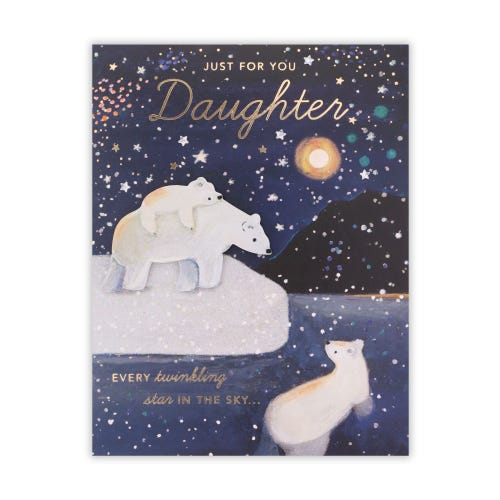 Polar Bear Scene Daughter Christmas Card