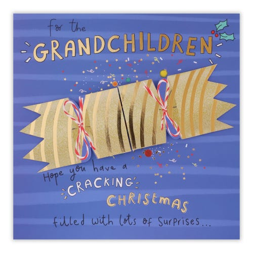 Pull Apart Cracker To Grandchildren Christmas Card