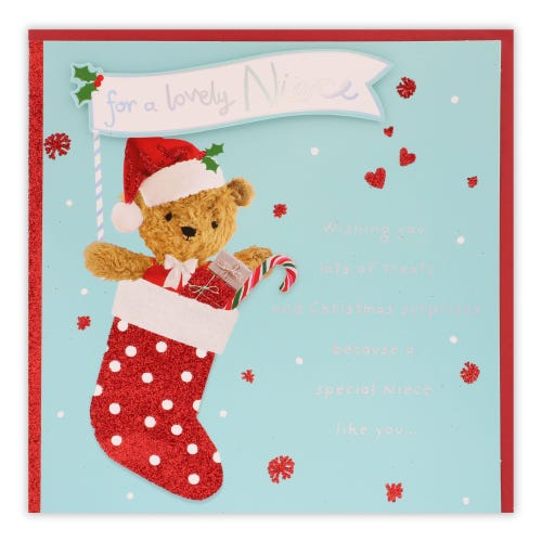 Teddy In Stocking Niece Christmas Card