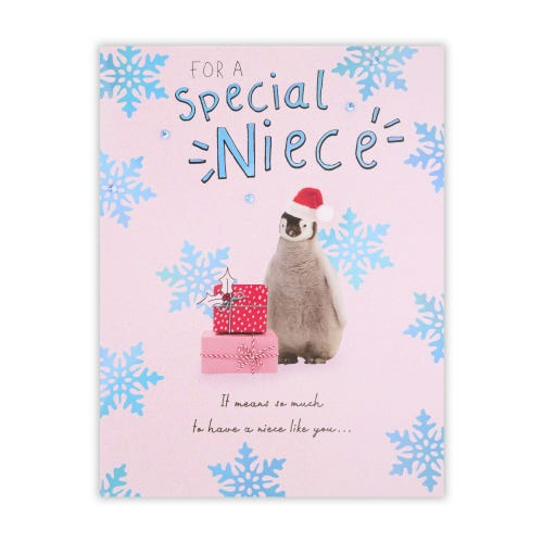 Penguin With Presents Niece Christmas Card