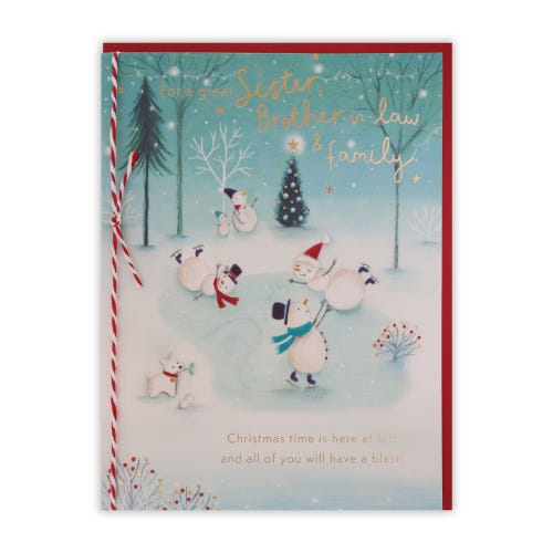 Playful Snow Characters Sister & Brother In Law & Family Christmas Card