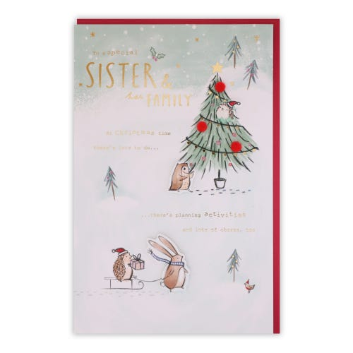 Cute Characters Sister & Family Christmas Card