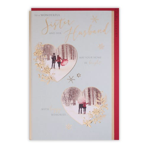 Couple In Hearts Sister & Husband Christmas Card