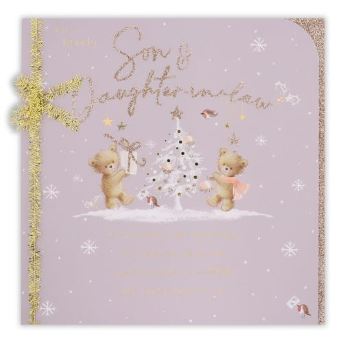 Teddies Round Tree Son & Daughter In Law Christmas Card