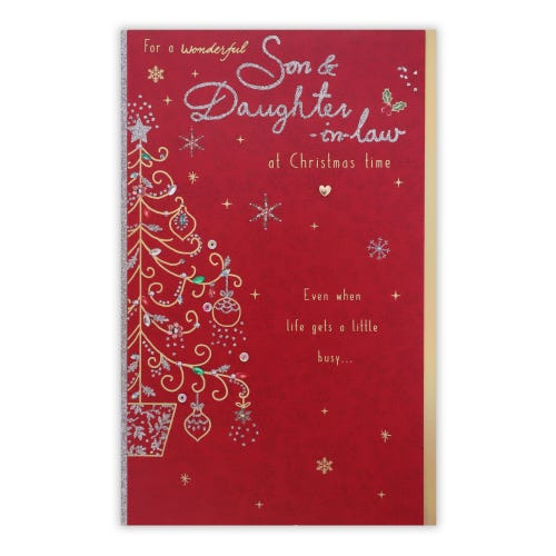 Decorative Tree Son & Daughter In Law Christmas Card