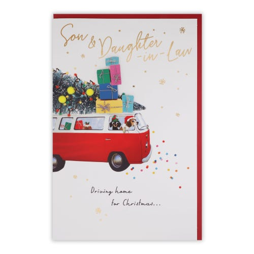 Dogs In Campervan Son & Daughter In Law Christmas Card