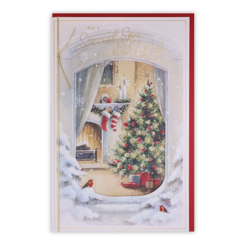 Window & Fire Place Son & Wife Christmas Card