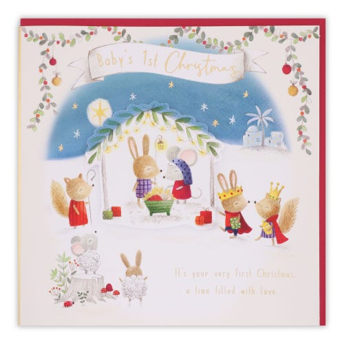 Woodland Baby's 1st Christmas Card