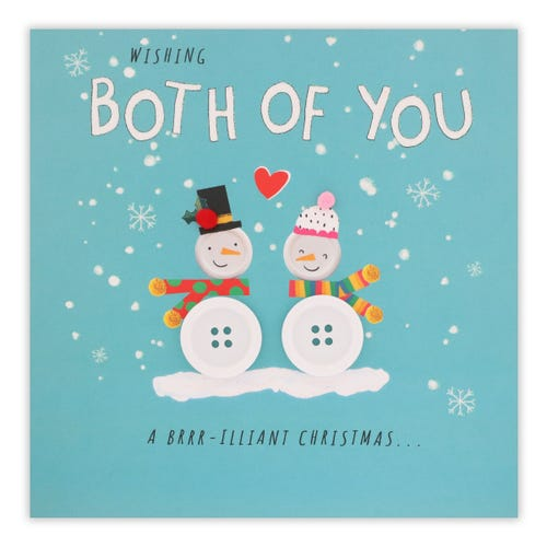 Button Snow Couple To Both Christmas Card