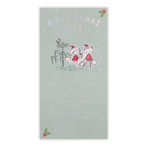 Shopping Pencil Pals Money holder Christmas Card