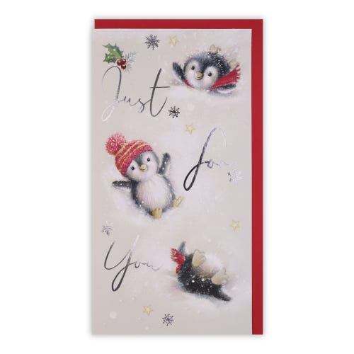 Cute Fluffy Penguins Money holder Christmas Card