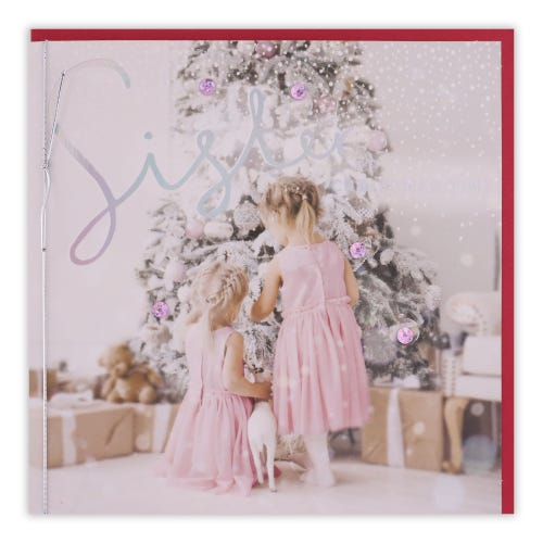 Photographic Girl By Tree Sister Christmas Card