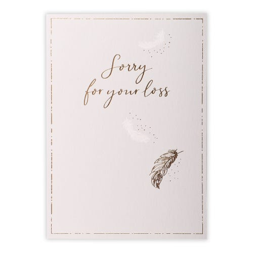 Feathers & Text Sympathy Card