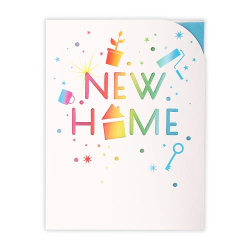 Multi Colour Text  New Home Card