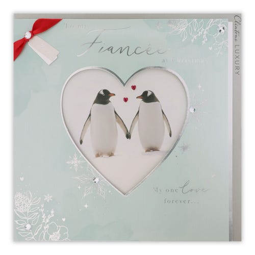 Photo Penuins Fiancee Christmas Card