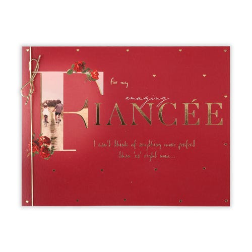 Fiancee Large Lettering With Bicycle Couple Birthday Card