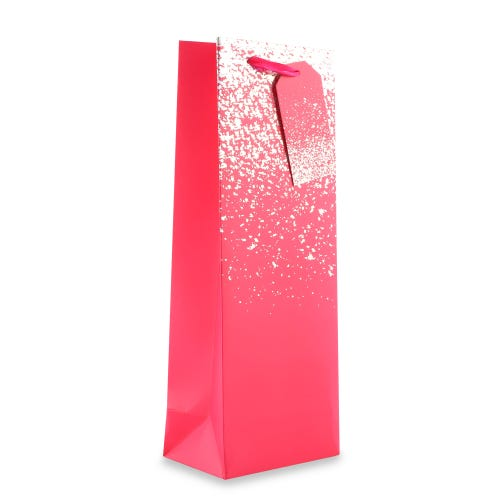 Pink With Silver Speckle Bottle Gift Bag