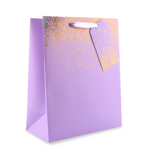 Lilac with Gold Speckle Large Gift Bag