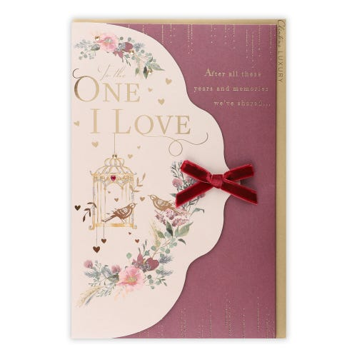 Floral Bird Cage One I Love Valentine's Day Card