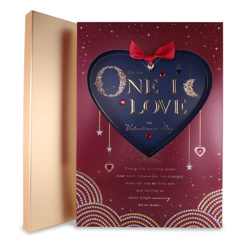 Sparkly Heart One I Love Boxed Card