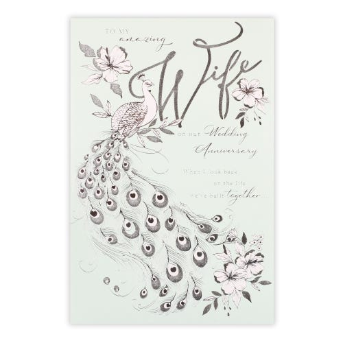 Wife Anniversary Silver Peacock Card
