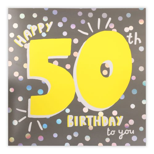50th Happy Birthday Large Card