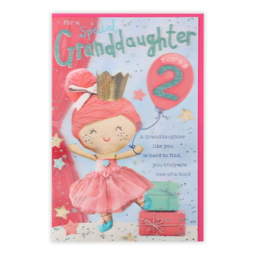 Granddaughter Knitted Princess 2nd Birthday Card
