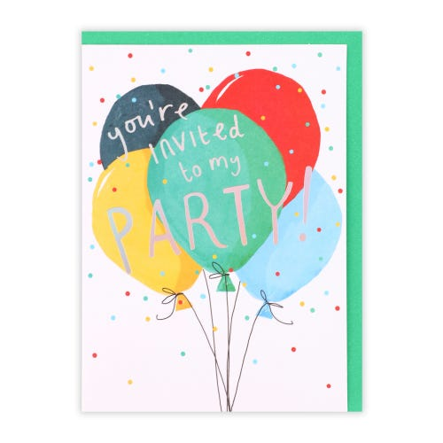 Balloon Party Invite, Pack of 10