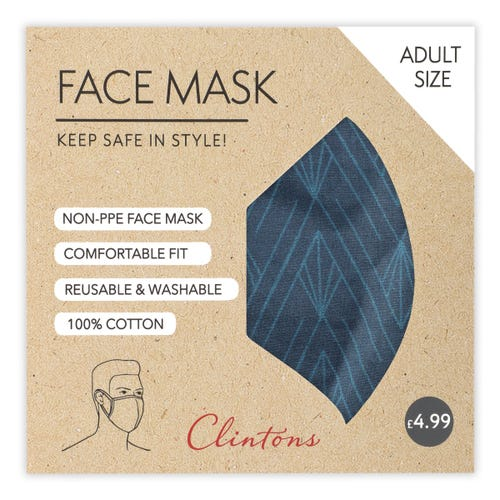 Face Mask- Navy Geo Pattern