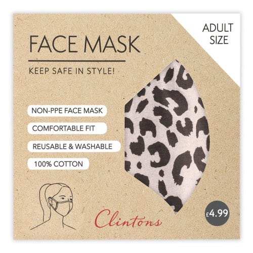 Face Mask- Black And White Animal Print