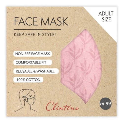 Face Mask- Pink Fern Pattern