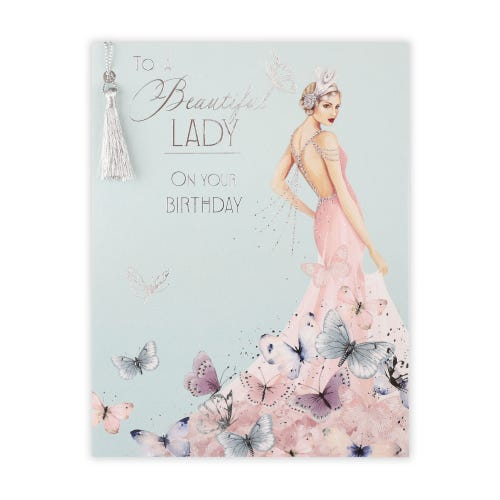 Roaring 20's Lady With Butterfly Dress Birthday Card