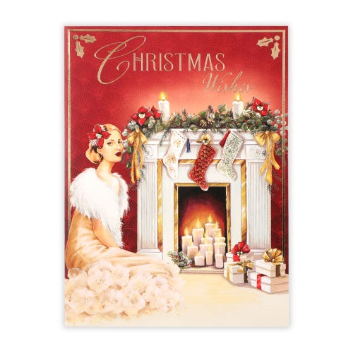 Roaring 20's Lady By Fireplace General Christmas Card