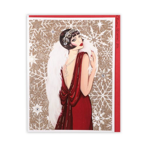 Roaring 20's Lady With Snowflake Background General Christmas Card