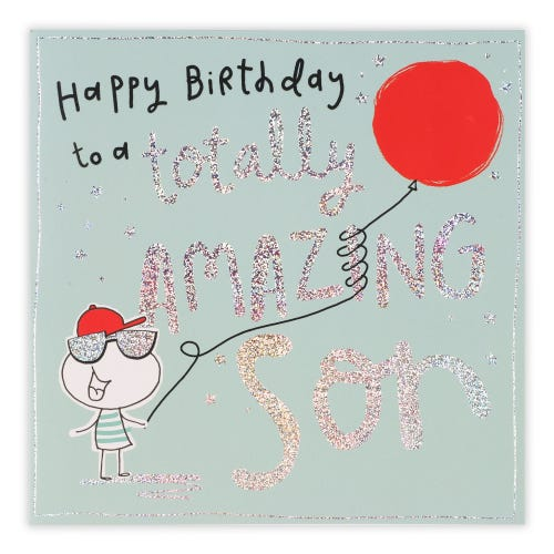 Large Son Character With Balloon Birthday Card