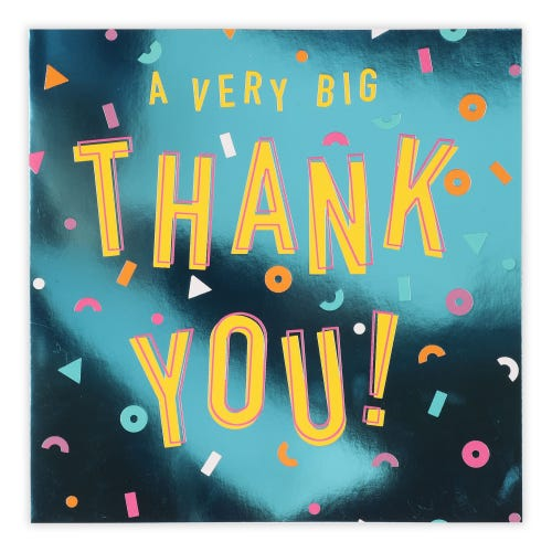 Large Thank You Lettering Card