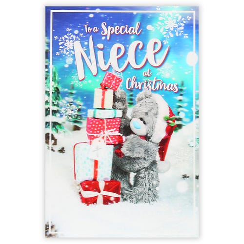 Bear Standing Next To Gifts Niece Christmas Card