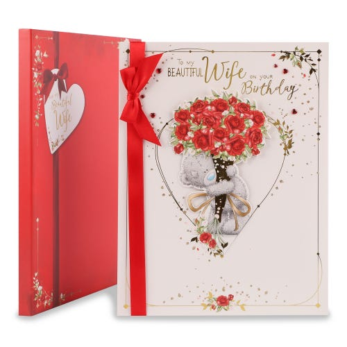 Wife Bear With Bouquet Of Roses Birthday Card