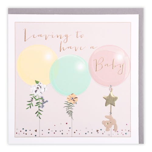 Leaving to Have a Baby Balloons Card