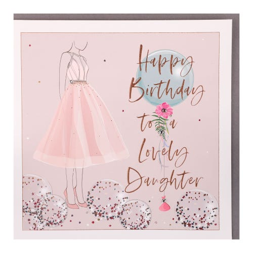 Daughter Girl In Dress With Balloons Birthday Card