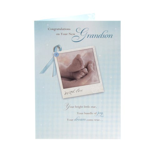 Birth Congratulations Card - New Grandson