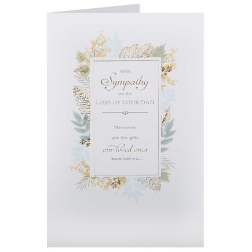 Sympathy Message Surrounded by Leaves Dad Sympathy Card