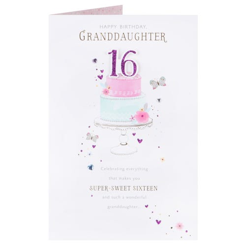Floral Tier Cake - Granddaughter 16th Birthday Card