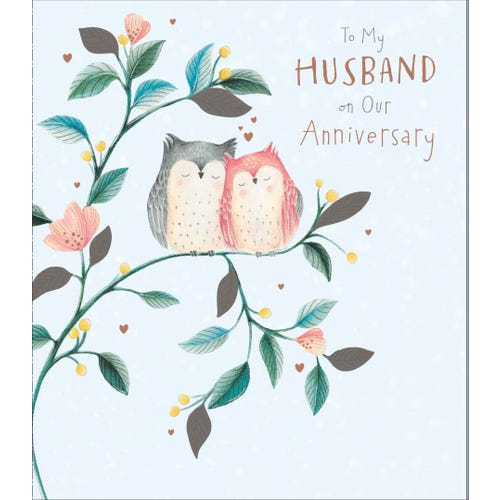 Husband Wedding Anniversary Cute Owls Card