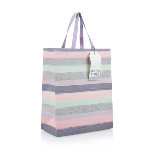 Pastel Stripe With Glitter Large Gift Bag